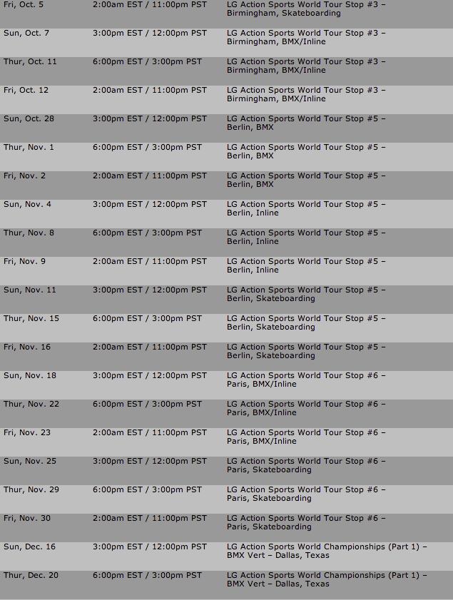2006 Domestic Television Schedule | ASA World Tour
