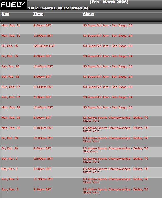2007 Domestic Television Schedule | ASA World Tour
