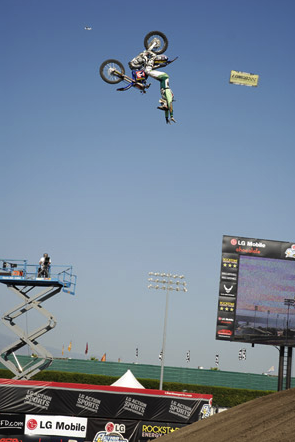 "Jeremy ""Twitch"" Stenberg, no-handed backflip, on his way to victory at the 2007 LG Action Sports World Championships of FMX."